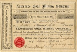 Lawrence Coal Mining Company - Nova Scotia, Canada -  1864