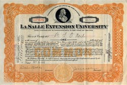 LaSalle Extension University signed by Founder Jesse Grant Chapline as President - 1925