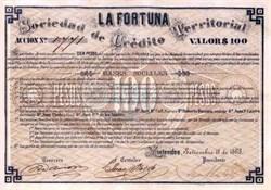 La Fortuna Sociedad de Credito Territorial Mining Company - Montevideo, Uruguay - 1868