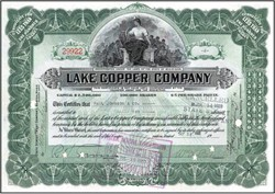 Lake Copper Company signed William Paine (Paine Webber founder) 1926