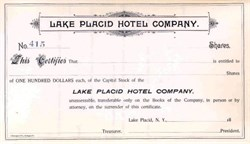 Lake Placid Hotel Company - Essex County, New York - 1880's