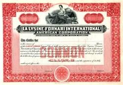 La Lysine Fornari International American Corporation - Delaware