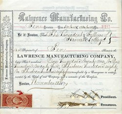 Lawrence Manufacturing Company (Issued to the President and Fellows of Harvard College) - Lowell, Massachusetts - 1871