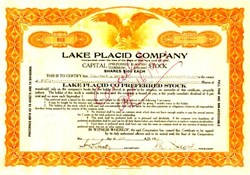 Lake Placid Company (1932 Olympics) signed by Melvin Dewey (Dewey Decimal System Originator) - Essex County, New York 1922