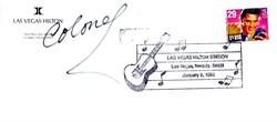 Las Vegas Hilton Envelope with Elvis Stamp signed by Colonel Tom Parker - Las Vegas, Nevada 1993