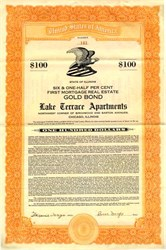 Lake Terrace Apartments $100 Gold Bond - Chicago, Illinois 1929