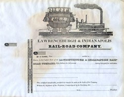 Lawrenceburgh & Indianapolis Rail-Road Company- Early Stagecoach Train Vignette -  1830's