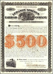 Lebanon Springs Railroad Company 1881 - New York