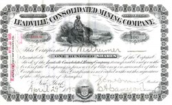 Leadville Consolidated Mining Company - Incorporated in New York dated 1895