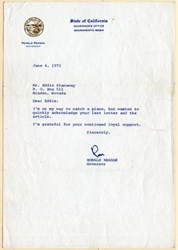 Handsigned Letter from Ronald Reagan as California Governor - 1971