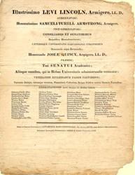 Harvard Commencement Graduation Program dated August 28, 1833
