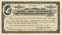 Leadhill Mines, Incorporated - Washington 1931