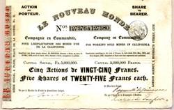 Le Nouveau Monde - California Gold Mining Stock 1851