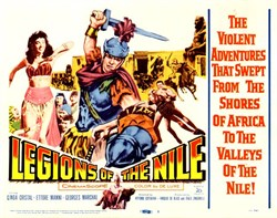 Legions of the Nile Lobby Card Starring Linda Cristal, Ettore Manni, and Georges Marchal - 1960