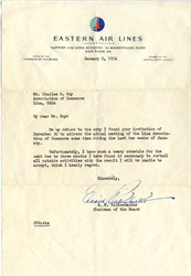 Letter signed by Eddie Rickenbacker as Chairman of Eastern Air Lines 1954