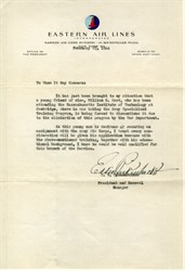 Letter signed by Eddie Rickenbacker as President of Eastern Air Lines 1944