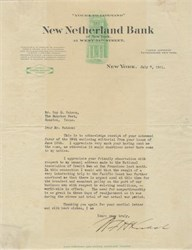 Letter by William F. Koelsch - President, New Netherland Bank (Chase ) 1921