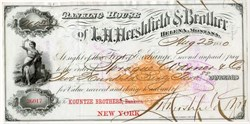 L. H. Hershfield and Brother Banking House Check 1880 - Imprinted revenue stamp - Helena, Montana Territory