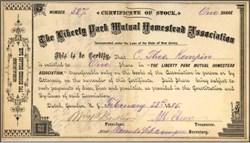 Liberty Park Mutual Homestead Association 1885 - New Jersey