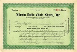 Liberty Radio Chain Stores Stock Certificate