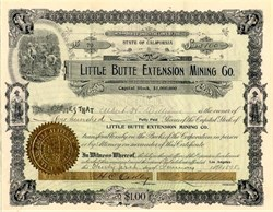 Little Butte Extension Mining Co. - California 1897