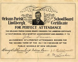 Lindbergh Perfect Attendance Certificate from Orleans Parish School Board - 1936