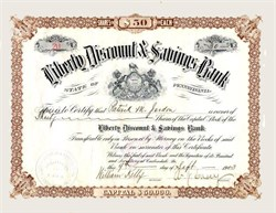 Liberty Discount & Savings Bank signed by Andrew J. Casey (Hotel Casey Fame) - Carbondale, Pennsylvania 1903