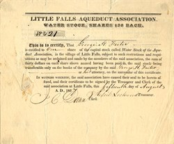Little Falls Aqueduct Association - New York 1837