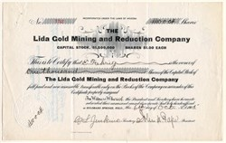 Lida Gold Mining and Reduction Company - Lida District, Nevada - Organized in Colorado 1905