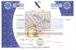 X Prize  - Lindbergh 75th Anniversary Flight Certificate - flown and handsigned by Erik Lindbergh, Grandson of Charles Lindbergh  - 2002