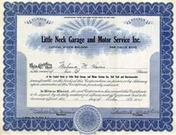 Little Neck Garage and Motor Service Inc. - Long Island, New York 1924