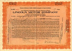 Lincoln Motor Car Company signed by Wilfred Leland and William T. Nash - 1921