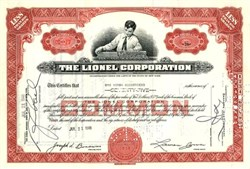 Lionel Corporation ( Old Boy Vignette ) - Early Certificate 1948
