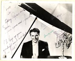 Liberace photograph with hand written message, signature and piano picture - 1955