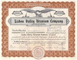 Lisbon Valley of Colorado Uranium Co ( Uranium companies were popular investments in the 1950s after Russia developed the nuclear bomb) - 1957