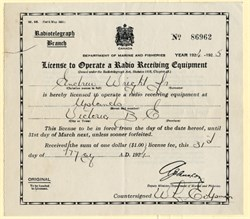 License to Operate a Radio Receiving Equipment - Victoria, British Columbia - Canada 1924