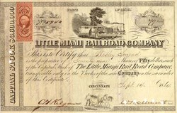 Little Miami Railroad Company 1870's- Civil War / Reconstruction Era