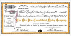 Live Pine Consolidated Mining Company 1894 - Utah Territory