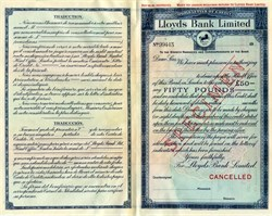 Lloyd's Bank Limited - World Letter of Credit  Specimen - England
