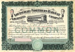 Louisville and Northern Railway and Lighting Company handsigned by Samuel Insull  - Indiana 1906