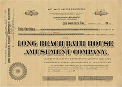 Long Beach Bath House and Amusement Company ( Nu Pike ) signed by Samuel Knight Rindge ( Malibu Family Founders) - California 1942