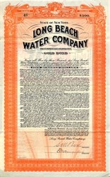 Long Beach Water Company Bond - New York 1909