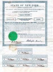 Lockport and Niagara Falls Railroad Company RARE signed by Washington Hunt  - Earliest U.S. Railroad Bond 1838