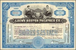 Loew's Boston Theatres Co. signed by David L. Loew -  1927