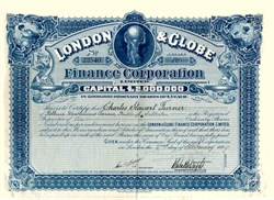 London & Globe Finance Corproation - J.Whitaker Wright as Director- 1899