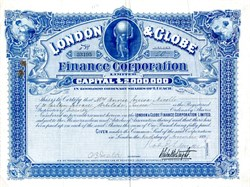 London & Globe Finance Corporation, Limited - Signed J. Whitaker Wright 1899