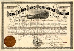 Long Island Land Company (Owned property in Jamaica, Queens County, Long Island, New York) signed by George W. Ballou - Boston, Massachusetts 1874