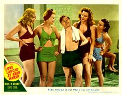 Love Laughs at Andy Hardy Lobby Card Starring Mickey Rooney and Lewis Stone - 1946