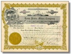Loma Prieta Mines Company Stock 1917