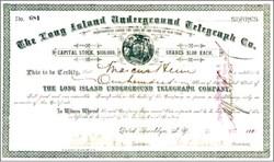Long Island Underground Telegraph Co. 1888 - Brooklyn, New York